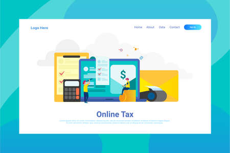 Web Page Header Online Tax illustration concept landing page suitable for website creative agency and digital marketing