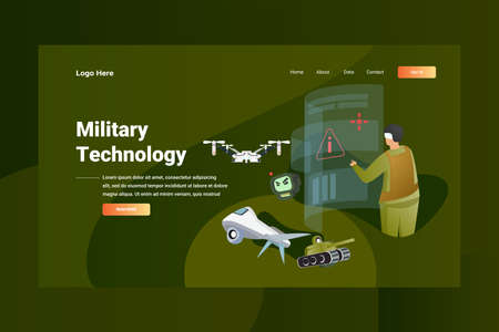 Web Page Header Military Technology illustration concept landing page suitable for website creative agency and digital marketing