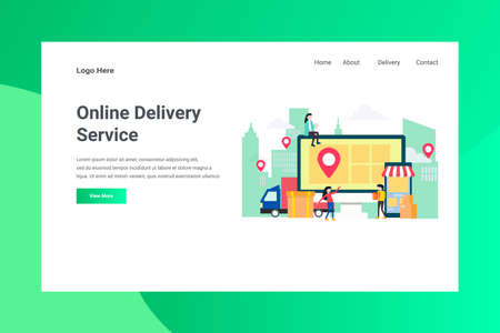 Web Page Header Online Delivery Service illustration concept landing page suitable for website creative agency and digital marketing