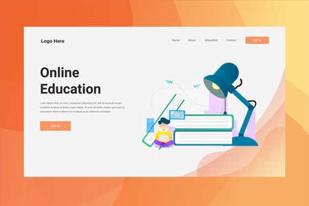 Web Page Header Online Education illustration concept landing page suitable for website creative agency and digital marketing Illustration