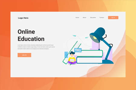 Web Page Header Online Education illustration concept landing page suitable for website creative agency and digital marketing Stock Illustratie