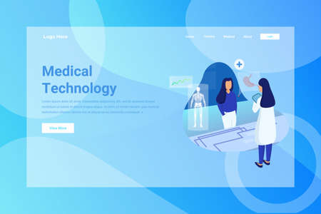 Web Page Header Medical Technology illustration concept landing page suitable for website creative agency and digital marketing Stock Illustratie