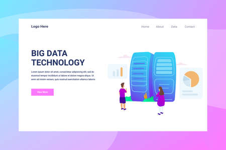Web Page Header Big Data illustration concept landing page suitable for website creative agency and digital marketing