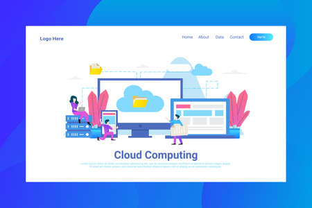 Web Page Header Cloud Computing illustration concept landing page suitable for website creative agency and digital marketing Stock Illustratie