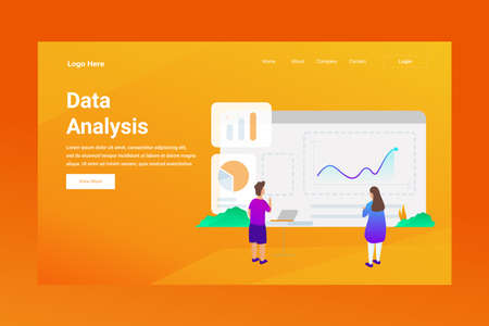 Web Page Header Data Analysis illustration concept landing page suitable for website creative agency and digital marketing