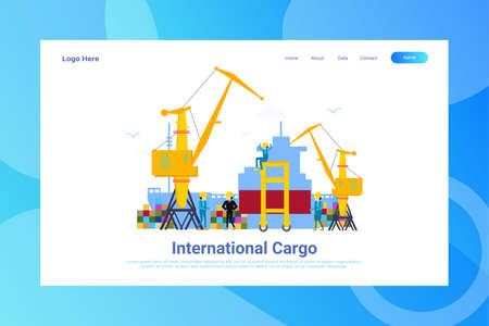 Web Page Header International Cargo illustration concept landing page suitable for website creative agency and digital marketing
