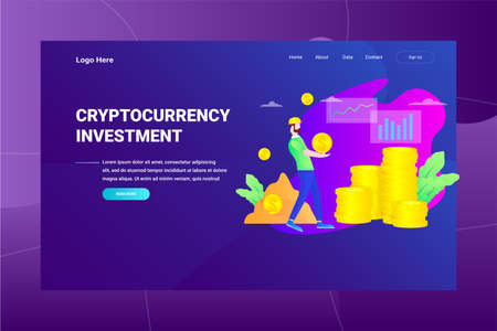 Web Page Header Cryptocurrency Investment illustration concept landing page suitable for website creative agency and digital marketing Stock Illustratie