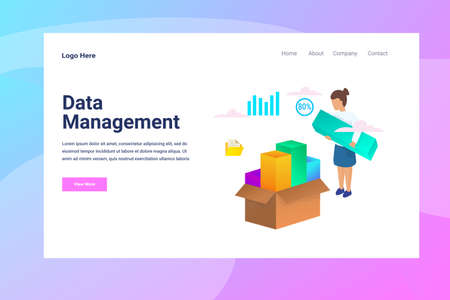 Web Page Header Data Management illustration concept landing page suitable for website creative agency and digital marketing