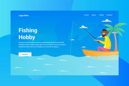 Web Page Header Fishing Hobby illustration concept landing page suitable for website creative agency and digital marketing