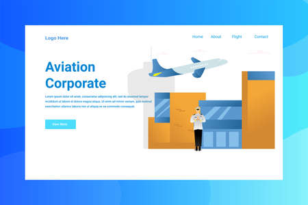 Web Page Header Aviation Corporate illustration concept landing page suitable for website creative agency and digital marketing Stock Illustratie