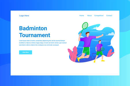 Web Page Header Badminton Turnament illustration concept landing page suitable for website creative agency and digital marketing