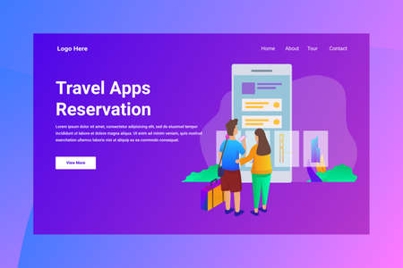Web Page Header Travel Apps Reservation illustration concept landing page suitable for website creative agency and digital marketing Stock Illustratie