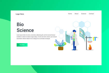 Web Page Header Bio Science illustration concept landing page suitable for website creative agency and digital marketing