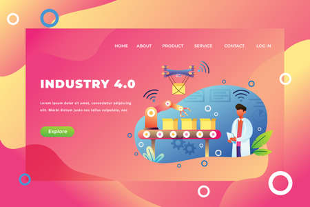 Industry 4.0 - Web Page Header Template Illustration using for landing page, ui, web banners, mobile apps, intro card, print, flyer, event graphics and much more