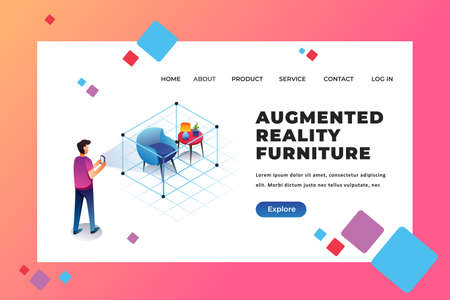 A Man Trying Augmented Reality Furniture on His Phone - Isometric Illustration Web Page Header Template using for landing page, ui, web banners, mobile apps, intro card, print, flyer, event graphics and much more