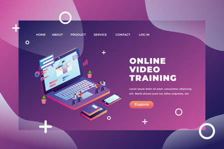 Tiny People Concept Studying From Online Video Training - Isometric Illustration Web Page Header Template using for landing page, ui, web banners, mobile apps, intro card, print, flyer, event graphics and much more Ilustracja
