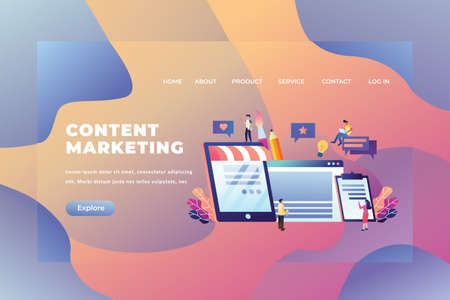 Tiny People Concept Working Together and Create Content Marketing - Web Page Header Template Illustration using for landing page, ui, web banners, mobile apps, intro card, print, flyer, event graphics and much more