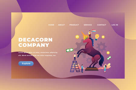 Tiny People Concept With a Company Value Above 10 Billion Dollars is Called The Decacorn Company - Web Page Header Template Illustration using for landing page, ui, web banners, mobile apps, intro card, print, flyer, event graphics and much more 矢量图像