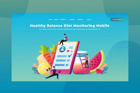 Tiny People Concept Healthy Balance Diet Monitoring Mobile - Medical and Science Web Page Header Template Illustration using for landing page, ui, web banners, mobile apps, intro card, print, flyer, event graphics and much more Illustration