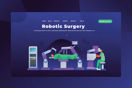 Modern Robotic Surgery Concept - Medical and Science Web Page Header Template Illustration using for landing page, ui, web banners, mobile apps, intro card, print, flyer, event graphics and much more Çizim