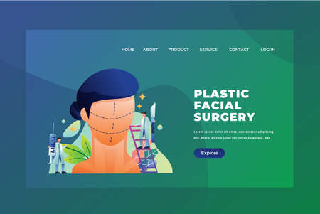Tiny People Concept Plastic Facial Surgery - Medical and Science Web Page Header Template Illustration using for landing page, ui, web banners, mobile apps, intro card, print, flyer, event graphics and much more Archivio Fotografico - 132657951