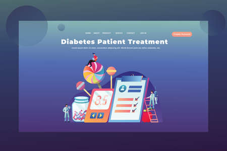 Tiny People Concept Diabetes Treatment- Medical and Science Web Page Header Template Illustration using for landing page, ui, web banners, mobile apps, intro card, print, flyer, event graphics and much more