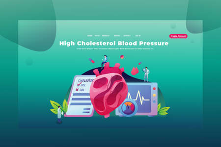 Tiny People High Cholesterol Blood Pressure - Medical and Science Web Page Header Template Illustration using for landing page, ui, web banners, mobile apps, intro card, print, flyer, event graphics and much more