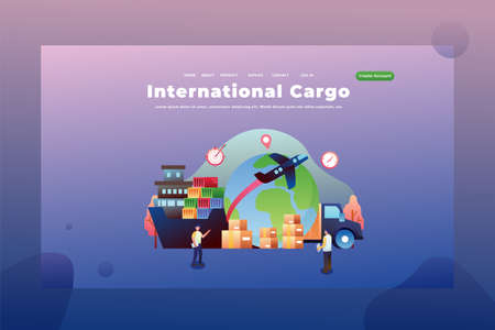 International cargo sends parcels between countries - Delivery and Cargo Web Page Header Template Illustration using for landing page, ui, web banners, mobile apps, intro card, print, flyer, event graphics and much more