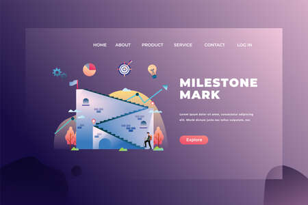 Milestone Mark for Big Project Management - Web Page Header Template Illustration using for landing page, ui, web banners, mobile apps, intro card, print, flyer, event graphics and much more