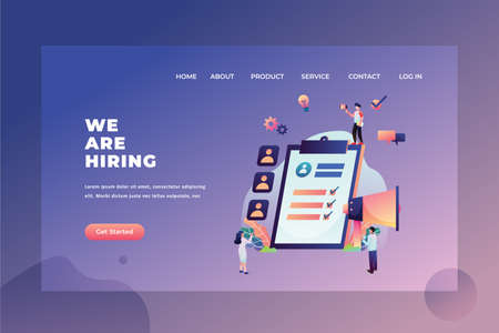 The HRD Team is Looking for New Employees - We are Hiring Web Page Header Template Illustration using for landing page, ui, web banners, mobile apps, intro card, print, flyer, event graphics and much more