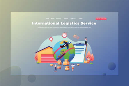 International Logistics Service between countries - Delivery and Cargo Web Page Header Template Illustration using for landing page, ui, web banners, mobile apps, intro card, print, flyer, event graphics and much more