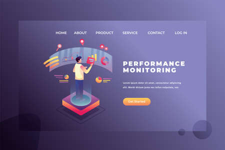 A Man is Monitoring Work Performance - Web Page Header Template Illustration using for landing page, ui, web banners, mobile apps, intro card, print, flyer, event graphics and much more Ilustracja