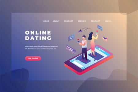 Two Couples looking for a date - Love & Relationship Web Page Header Template Illustration using for landing page, ui, web banners, mobile apps, intro card, print, flyer, event graphics and much more