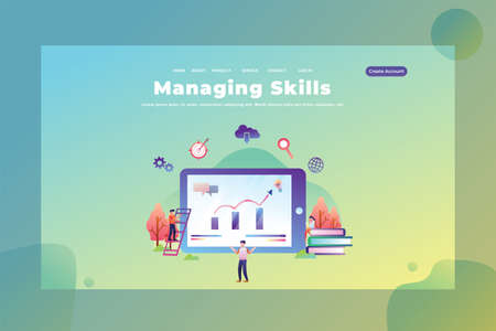 The skills of managing your tasks - Web Page Header Template Illustration using for landing page, ui, web banners, mobile apps, intro card, print, flyer, event graphics and much more
