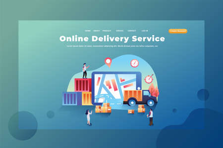 These people work as online delivery services - Delivery and Cargo Web Page Header Template Illustration using for landing page, ui, web banners, mobile apps, intro card, print, flyer, event graphics and much more