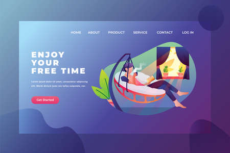 Enjoy Free Time with Reading and Coffee - Web Page Header Template Illustration using for landing page, ui, web banners, mobile apps, intro card, print, flyer, event graphics and much more Illustration