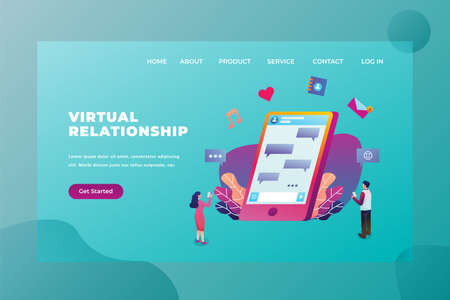 Two couples still connected using virtual relation technology - Love & Relationship Web Page Header Template Illustration using for landing page, ui, web banners, mobile apps, intro card, print, flyer, event graphics and much more Ilustracja