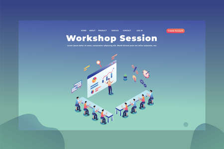 These People are Studying in a Workshop Session - Web Page Header Template Illustration using for landing page, ui, web banners, mobile apps, intro card, print, flyer, event graphics and much more