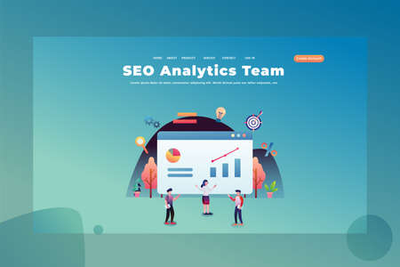 a Team Working for SEO Analytic - Web Page Header Template Illustration using for landing page, ui, web banners, mobile apps, intro card, print, flyer, event graphics and much more Illustration