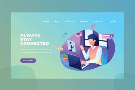Always stay connected using video call on laptop - Love & Relationship Web Page Header Template Illustration using for landing page, ui, web banners, mobile apps, intro card, print, flyer, event graphics and much more