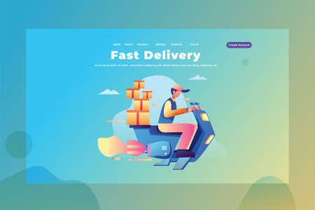 a man courier works as a fast delivery service - Delivery and Cargo Web Page Header Template Illustration using for landing page, ui, web banners, mobile apps, intro card, print, flyer, event graphics and much more Ilustracja