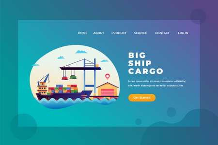 Big Ship Cargo for International Shipping - Delivery and Cargo Web Page Header Template Illustration using for landing page, ui, web banners, mobile apps, intro card, print, flyer, event graphics and much more