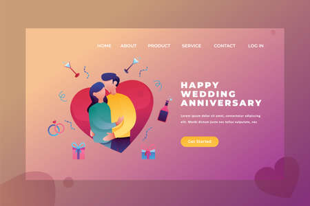 Two Couples celebrate a wedding anniversary - Love & Relationship Web Page Header Template Illustration using for landing page, ui, web banners, mobile apps, intro card, print, flyer, event graphics and much more