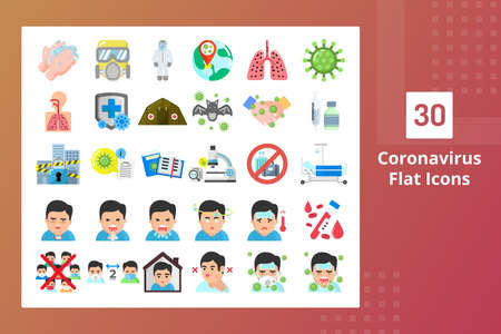 Coronavirus Flat Icons - Prevent The Spreading Ilustracja