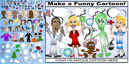 Create your own cartoon set! - Wide variety of funny elements for your creative ideas. photo