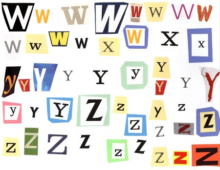 ransom: w-z Alphabet, ransom style Stock Photo