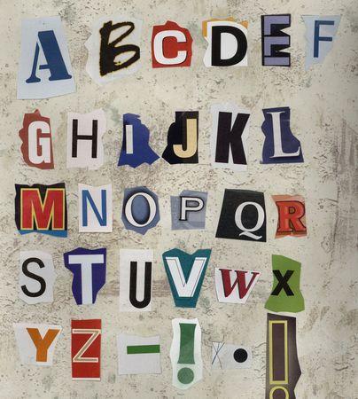 ransom: Alphabet, ransom style Stock Photo