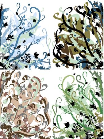 bordering: Retro Vintage Floral Backgrounds Set