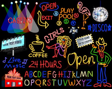 theater man: Neon Lights Set - Entire Alphabet Included for your Designs! Stock Photo