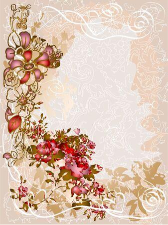 red rose border: Vintage style design illustration